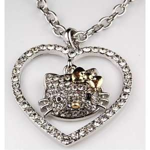 Hello Kitty Crystal Gold Bow Heart Necklace in Kitty Gift