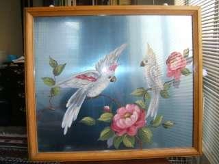 Vintage Reverse Glass Painting Parrots signed Marietta