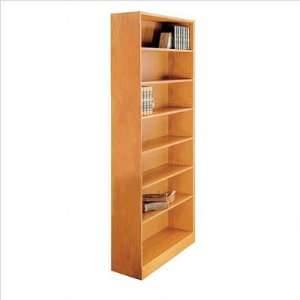 84 H Seven Shelf Bookcase Wood Finish Light Oak Office Products