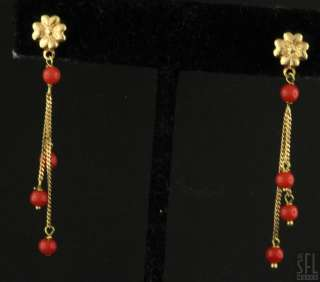18K YELLOW GOLD RED CORAL BEAD DANGLE EARRINGS