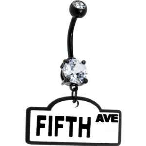 White Fifth Avenue Street Sign Belly Ring Jewelry