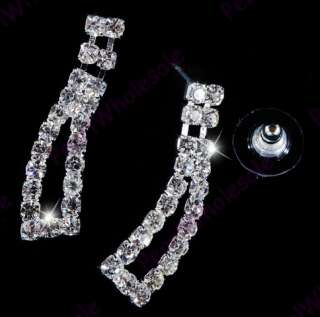 silver tone Rhinestone&alloy  necklace+earring 6sets
