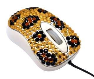 Leopard Mini Crystal Rhinestone Computer Laptop Mouse