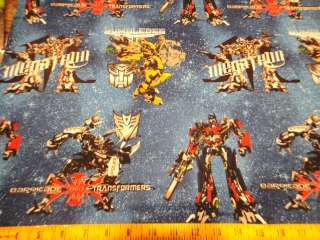 Robots Transformers Galaxy Megatron Stars Blue Cotton Fabric BTY
