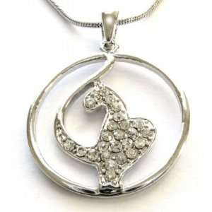 Phat Cat Clear Crystal Circle Necklace Pendant