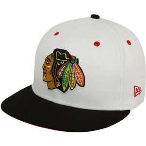 Blackhawks White Black Quick Turn Flat Bill Snapback Adjustable Hat