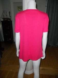 Tory Burch URSEL LOGO TEE Cotton T Shirt Top Pink L 10