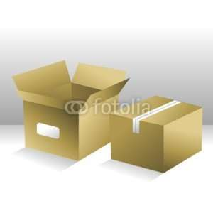 Decals   Two Brown Shipping Boxes   Removable Graphic