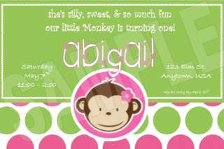 Monkey boy & girl PERSONALIZED Invitations