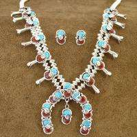 Indian EFFIE C Turquoise Coral Squash Necklace Earrings Set