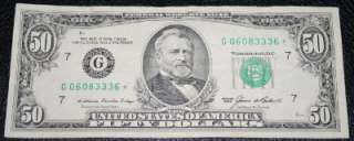 1985 $50 Fifty Dollar Star Note G06083336* |