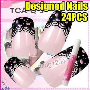 24 New pink Lace designed Nail Art Tips + Glue 233