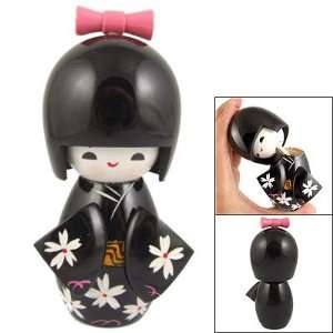 Black Kimono Smiling Girl Wood Kokeshi Doll Toy: Arts, Crafts & Sewing