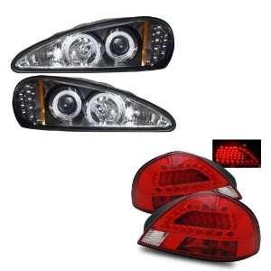 99 05 Pontiac Grand AM Black CCFL Halo Projector Headlights + LED Tail
