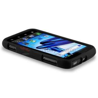 Black Rubber Hard Cover Case+Screen Protector For Motorola Atrix 2
