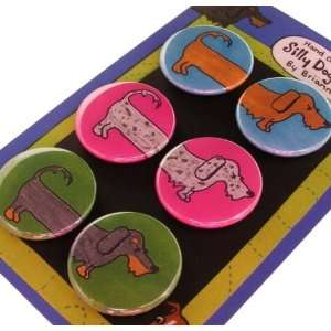 Dachshund Wirehair Silly Dog Magnet Set of 6: Office