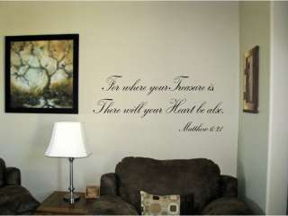 For where your treasure is Religious Vinyl Wall Art Words Decals