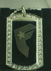 FAMOUS STARS AND STRAPS #1 CZ DOG TAG PENDANTS NECKLACE