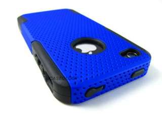 BLK BLUE PERFORATED MESH RUBBERIZED HARD SOFT CASE COVER APPLE IPHONE