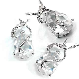 CHRISTMAS GIFT JEWELRY PEAR TOPAZ RHINESTONES WHITE GOLD GP PENDANT