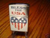 BLESS THE USA HEART RED WHITE AND BLUE ZIPPO LIGHTER MINT 2001