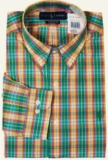 NWT Polo Ralph Lauren Green Plaid Dress Sport Shirt New