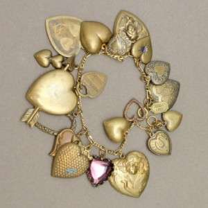 Pididdly Links Hearts Charm Bracelet Vintage Brass Lightweight