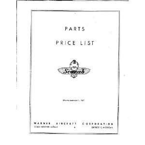 Warner Scarab Aircraft Engine Parts Price Manual Warner Books