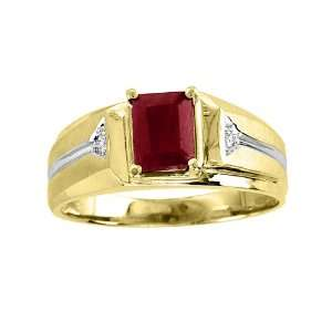 Mens Emerald Cut Ruby & Diamond Ring 14K Yellow Gold Jewelry