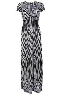 NEW WOMENS FLORAL ZEBRA PRINT STRETCH LADIES LONG MAXI DRESS SIZE 10