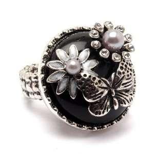 Gothic Victorian Chunky Black Stone Flower Garden Fashion Ring