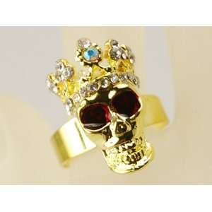 Crazy Gothic Gold Tone Skull Crown Blood Red Clear Crystal