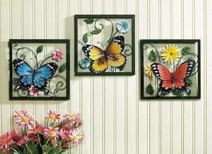 Pc Framed Crafted 3D Metal Butterfly In Blossom Flower Wall Art Decor
