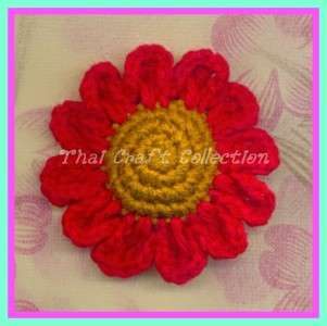 S14 6 x Big 13 Color Sun Flower Crochet Applique Cute