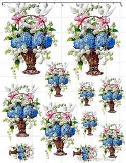 De Bd 25 Shabby Vintage Blue Floral Pink Bow Basket Doves Decals