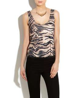 Brown Pattern (Brown) Te Amo Tiger Print Scallop Edge Vest Top