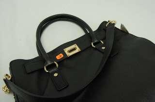 34dd13765efb ... Michael Kors NEW MK Large Black Hamilton Leather Tote Bag Purse ...