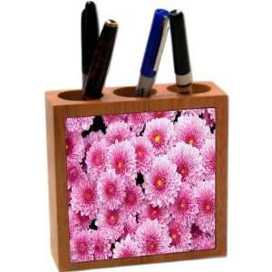 Rikki KnightTM Pink Flowers 5 Inch Tile Maple Finished