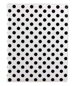 iPad 2 Polka Dot Hard Leather Case Cover With Stand   Black / White