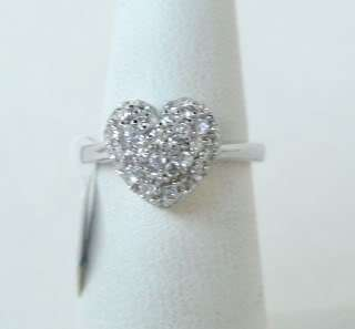 STERLING SILVER PAVE CRYSTAL HEART RING SIZE 5