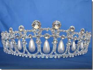 Wedding Crown Veil Pageant Homecoming Prom Pearl Crystal Tiara D0818