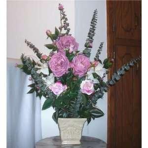 Lavender Colored Peony & Rose Floral Arrangement Home