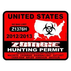 United States Zombie Hunting Permit 2012/2013 Car Decal