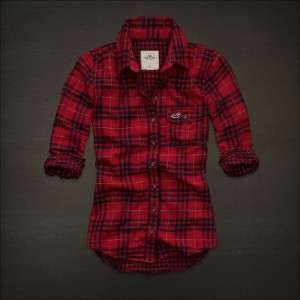 NWT HOLLISTER by ABERCROMBIE Women Plaid Shirt Red Navy Size XS S NEW