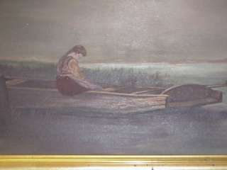 ANTIQUE OIL PAINTING ON BOARD WOMAN IN BOAT GOLD FRAME