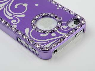 Flower Aluminum Chrome Diamond Cover Case For iPhone 4 4G 4S