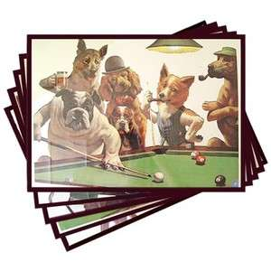 Dogs Playing Pool Mirrors (Set of All Five)