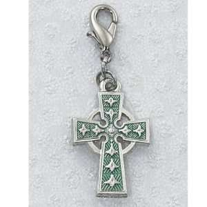 Carded Clip on Medals Green Celtic Irish Cross Clips on