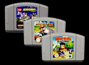 N64 Spiele MARIO KART + DIDDY KONG RACING + LEGO RACERS