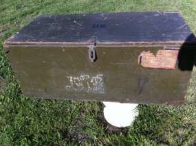 Vintage Wood Military Army Trunk Footlocker Foot Locker